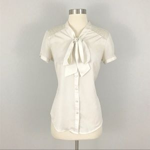 The Limited Small Blouse Top Pussy Bow Ivory